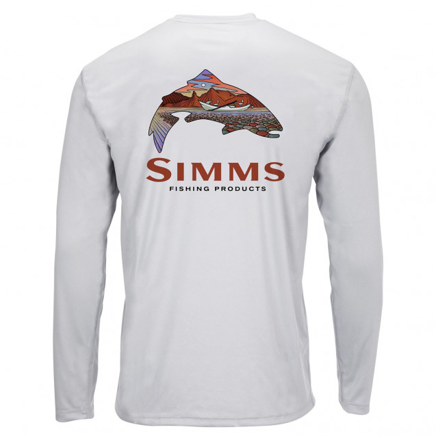 Блуза Simms Solar Tech Tee Simms Troutscape Sterling XL