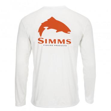 Блуза Simms Solar Tech Tee Trout Logo White XXL